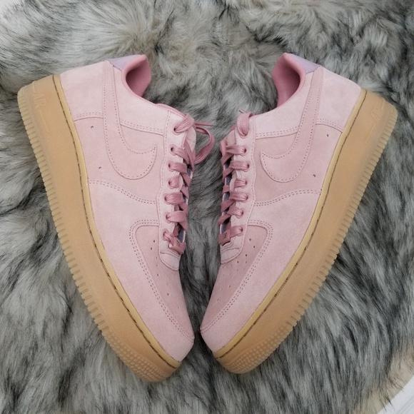 1424c6cd4 Nike iD Women's Air Force 1 Pink Suede Shoes. M_5affb38ba4c485b23f922cf6